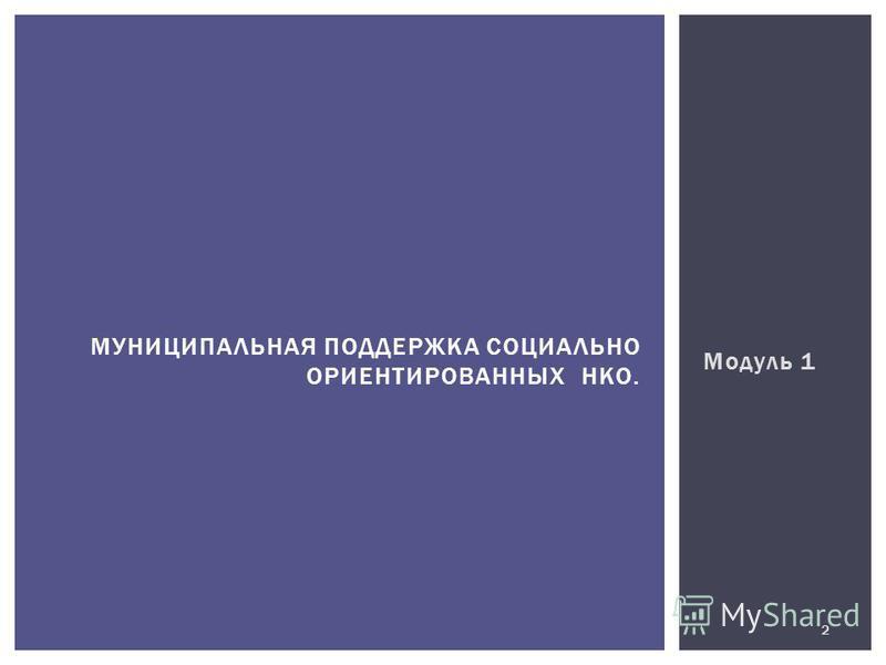 Модуль 1 МУНИЦИПАЛЬНАЯ ПОДДЕРЖКА СОЦИАЛЬНО ОРИЕНТИРОВАННЫХ НКО. 2