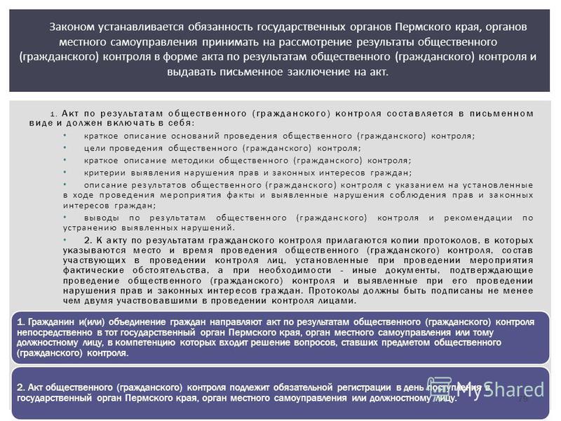 Законом устанавливается обязанность государственных органов Пермского края, органов местного самоуправления принимать на рассмотрение результаты общественного (гражданского) контроля в форме акта по результатам общественного (гражданского) контроля и