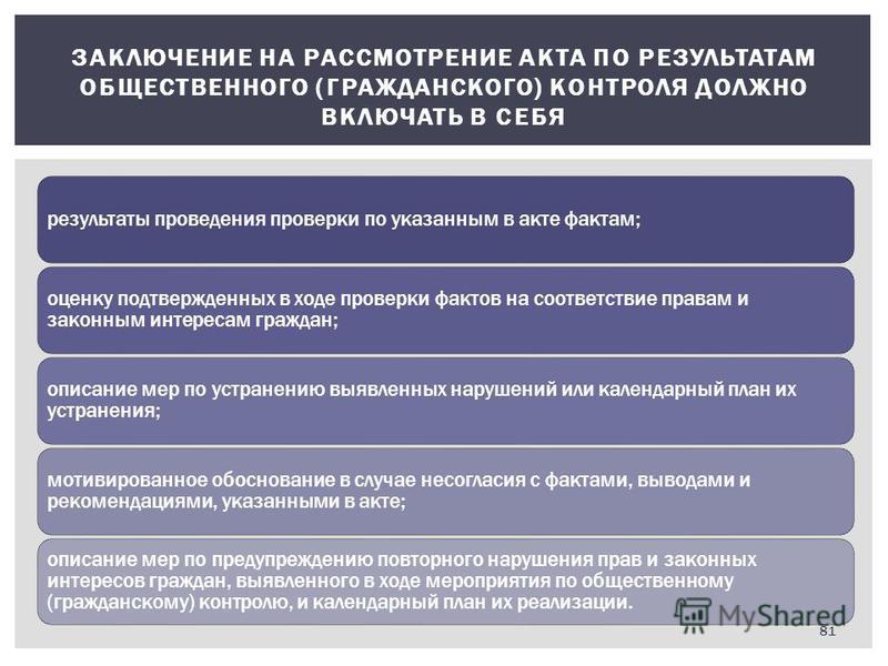 ЗАКЛЮЧЕНИЕ НА РАССМОТРЕНИЕ АКТА ПО РЕЗУЛЬТАТАМ ОБЩЕСТВЕННОГО (ГРАЖДАНСКОГО) КОНТРОЛЯ ДОЛЖНО ВКЛЮЧАТЬ В СЕБЯ результаты проведения проверки по указанным в акте фактам; оценку подтвержденных в ходе проверки фактов на соответствие правам и законным инте
