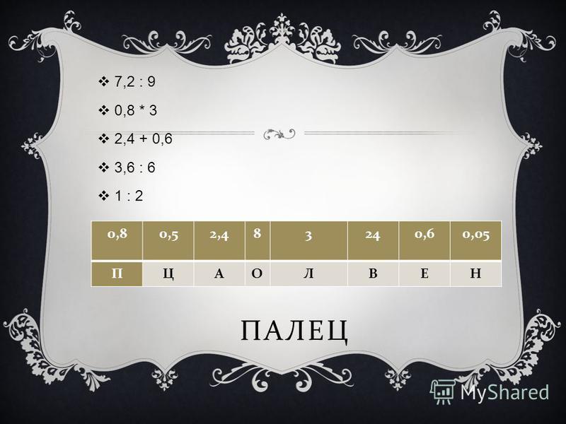 ПАЛЕЦ 7,2 : 9 0,8 * 3 2,4 + 0,6 3,6 : 6 1 : 2 0,80,52,483240,60,05 ПЦАОЛВЕН