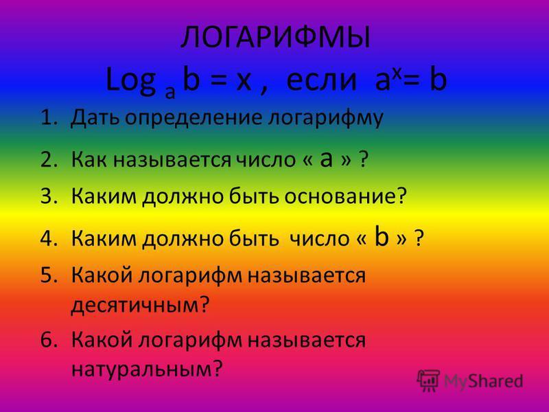 ЛОГАРИФМЫ Log a b = x, если a x = b 1. Дать определение логарифму 2. Как называется число « a » ? 3. Каким должно быть основание? 4. Каким должно быть число « b » ? 5. Какой логарифм называется десятичным? 6. Какой логарифм называется натуральным?