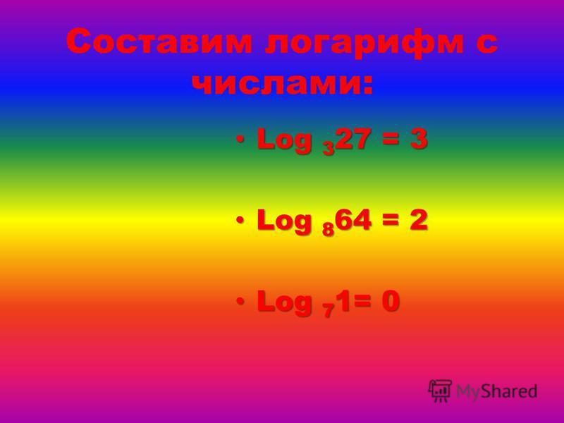 Составим логарифм с числами: Log 3 27 = 3 Log 3 27 = 3 Log 8 64 = 2 Log 8 64 = 2 Log 7 1= 0 Log 7 1= 0