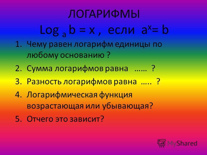 ЛОГАРИФМЫ Log a b = x, если a x = b 1. Чему равен логарифм единицы по любому основанию ? 2. Сумма логарифмов равна …… ? 3. Разность логарифмов равна ….. ? 4. Логарифмическая функция возрастающая или убывающая? 5. Отчего это зависит?