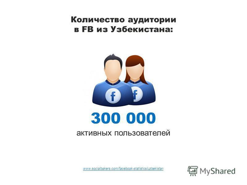 Количество аудитории в FB из Узбекистана: 300 000 активных пользователей www.socialbakers.com/facebook-statistics/uzbekistan