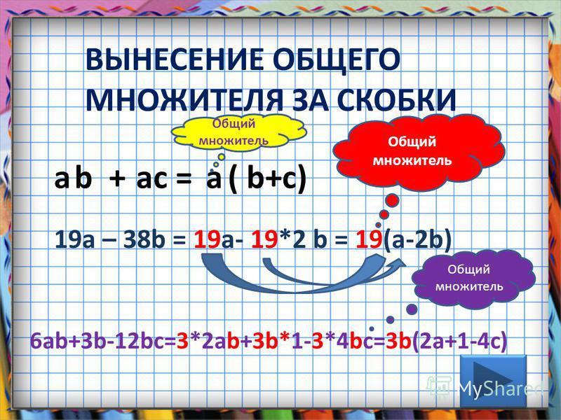 ВЫНЕСЕНИЕ ОБЩЕГО МНОЖИТЕЛЯ ЗА СКОБКИ a b + a c = a ( b+c) 19a – 38b = 19a- 19*2 b = 19(a-2b) Общий множитель Общий множитель 6ab+3b-12bc=3*2ab+3b*1-3*4bc=3b(2a+1-4c) Общий множитель