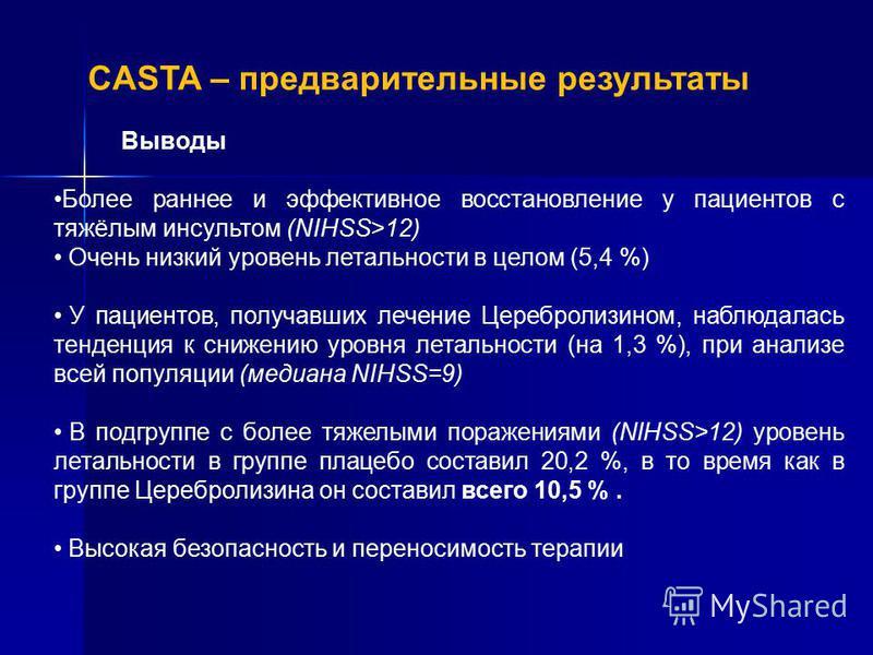 CASTA – предварительные результаты Выводы Более раннее и эффективное восстановление у пациентов с тяжёлым инсультом (NIHSS>12) Очень низкий уровень летальности в целом (5,4 %) У пациентов, получавших лечение Церебролизином, наблюдалась тенденция к сн