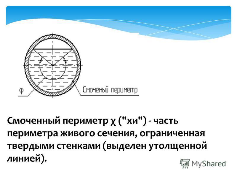 Смоченный периметр χ (хи) - часть периметра живого сечения, ограниченная твердыми стенками (выделен утолщенной линией).