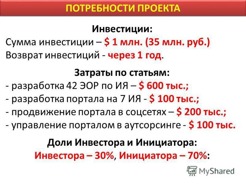 ПОТРЕБНОСТИ ПРОЕКТА Инвестиции: Сумма инвестиции – $ 1 млн. (35 млн. руб.) Возврат инвестиций - через 1 год. Затраты по статьям: - разработка 42 ЭОР по ИЯ – $ 600 тыс.; - разработка портала на 7 ИЯ - $ 100 тыс.; - продвижение портала в соцсетях – $ 2
