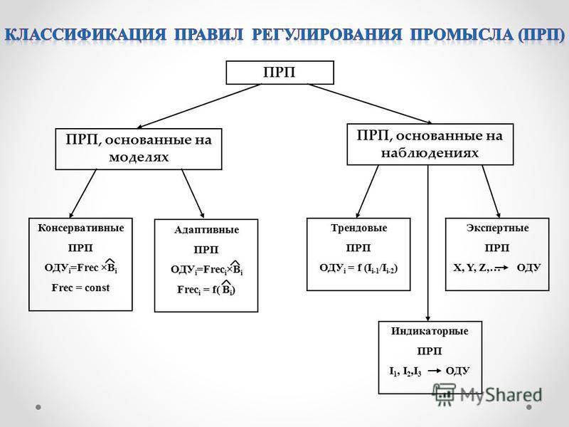 ПРП ПРП, основанные на моделях ПРП, основанные на наблюдениях Индикаторные ПРП I 1, I 2,I 3 ОДУ Экспертные ПРП X, Y, Z,… ОДУ Трендовые ПРП ОДУ i = f (I i-1 /I i-2 ) Консервативные ПРП ОДУ i =Frec ×B i Frec = const Адаптивные ПРП ОДУ i =Frec i ×B i Fr