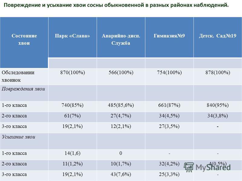 Состояние хвои Парк «Слава» Аварийно-дисп. Служба Гимназия 9Детск. Сад 19 Обследовании хвоинок 870(100%)566(100%)754(100%)878(100%) Повреждения хвои 1-го класса 740(85%)485(85,6%)661(87%)840(95%) 2-го класса 61(7%)27(4,7%)34(4,5%)34(3,8%) 3-го класса