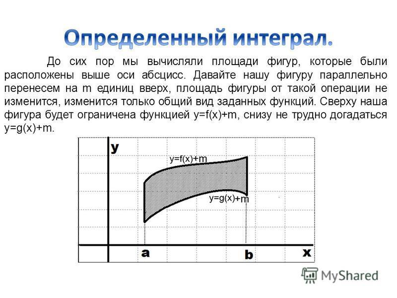 До сих пор мы вычисляли площади фигур, которые были расположены выше оси абсцисс. Давайте нашу фигуру параллельно перенесем на m единиц вверх, площадь фигуры от такой операции не изменится, изменится только общий вид заданных функций. Сверху наша фиг