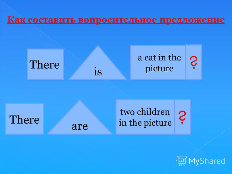 There is are a cat in the picture two children in the picture ? ? Как составить вопросительное предложение