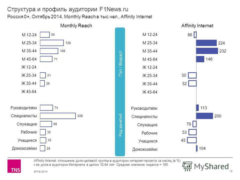 ©TNS 2014 Структура и профиль аудитории F1News.ru 13 Affinity Internet: отношение доли целевой группы в аудитории интернет-проекта за месяц (в %) к ее доле в аудитории Интернета в целом 12-64 лет. Среднее значение индекса = 100. Россия 0+, Октябрь 20