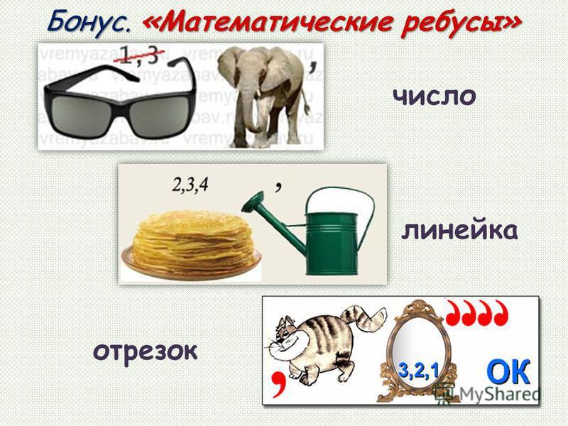 Бонус. «Математические ребусы» отрезок число линейка