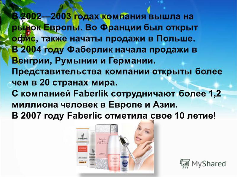 В 20022003 годах компания вышла на рынок Европы. Во Франции был открыт офис, также начаты продажи в Польше. В 2004 году Фаберлик начала продажи в Венгрии, Румынии и Германии. Представительства компании открыты более чем в 20 странах мира. С компанией