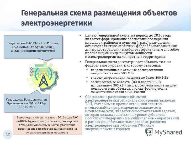 Генеральная схема размещения объектов электроэнергетики Целью Генеральной схемы на период до 2020 года является формирование обоснованного перечня площадок, районов и пунктов ( трасс ) размещения объектов электроэнергетики федерального значения для п