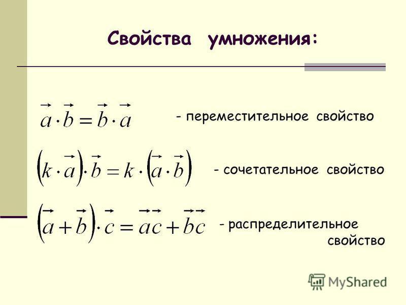 Свойства умножения: - переместительное свойство - сочетательное свойство - распределительное свойство