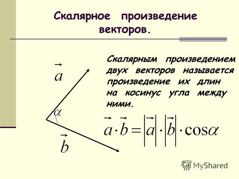 Скалярное произведение векторов. Скалярным произведением двух векторов называется произведение их длин на косинус угла между ними.