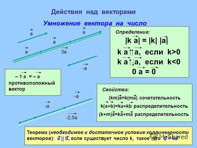 Действия над векторами Умножение вектора на число a a a a 3a3a |k a| = |k| |a| k a a, если k>0 k a a, если k