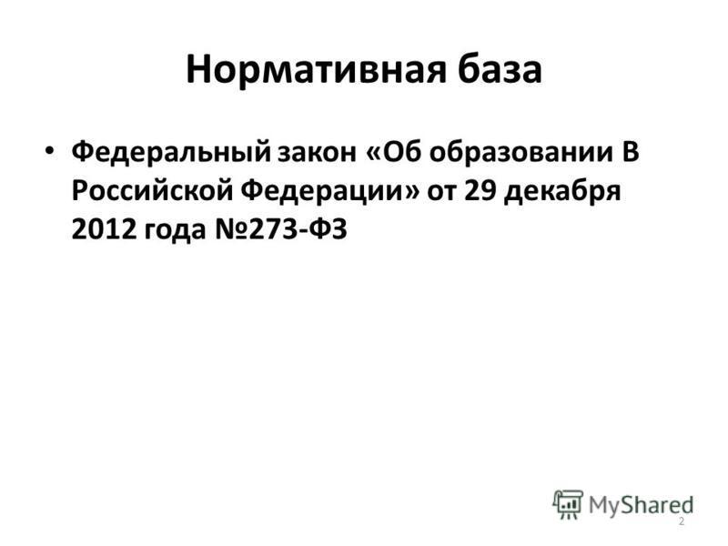 Нормативная база Федеральный закон «Об образовании В Российской Федерации» от 29 декабря 2012 года 273-ФЗ 2