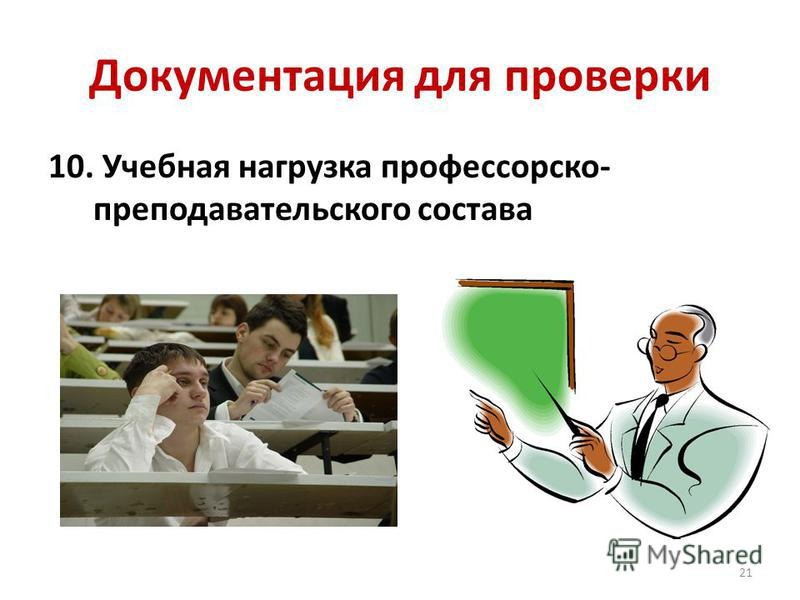 Документация для проверки 10. Учебная нагрузка профессорско- преподавательского состава 21