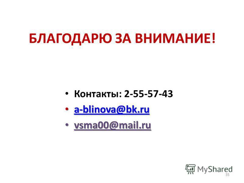 БЛАГОДАРЮ ЗА ВНИМАНИЕ! Контакты: 2-55-57-43 a-blinova@bk.ru a-blinova@bk.ru a-blinova@bk.ru vsma00@mail.ru vsma00@mail.ru 35