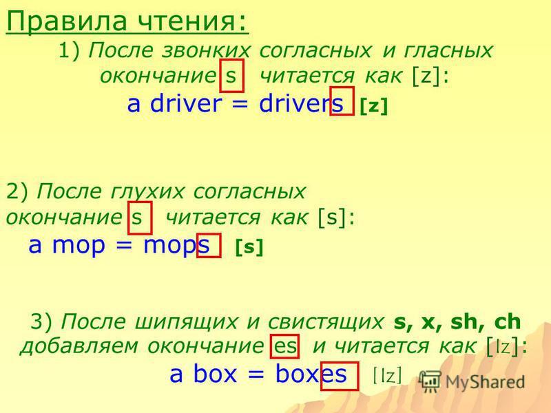 Правила чтения: 1) После звонких согласных и гласных окончание s читается как [z]: a driver = drivers [z] 2) После глухих согласных окончание s читается как [s]: a mop = mops [s] 3) После шипящих и свистящих s, x, sh, ch добавляем окончание es и чита
