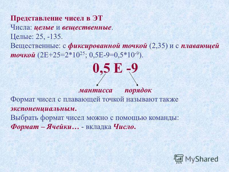 Представление чисел в ЭТ Числа: целые и вещественные. Целые: 25, -135. Вещественные: с фиксированной точкой (2,35) и с плавающей точкой (2Е+25=2*10 25 ; 0,5Е-9=0,5*10 -9 ). 0,5 Е -9 мантисса порядок Формат чисел с плавающей точкой называют также эксп