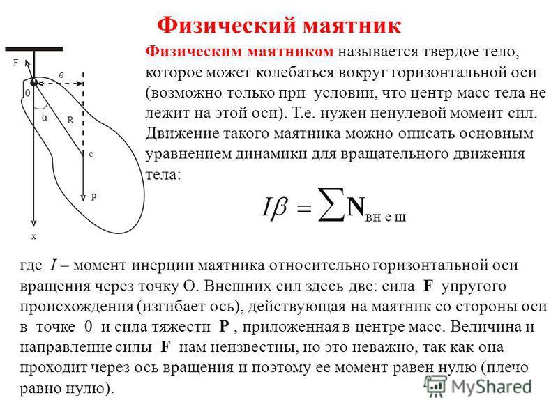 Физический маятник. x P F 0 в R c α Физическим маятником называется твердое тело, которое может колебаться вокруг горизонтальной оси (возможно только при условии, что центр масс тела не лежит на этой оси). Т.е. нужен ненулевой момент сил. Движение та