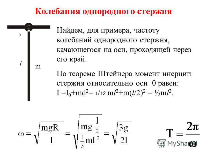 Колебания однородного стержня m 0 Найдем, для примера, частоту колебаний однородного стержня, качающегося на оси, проходящей через его край. По теореме Штейнера момент инерции стержня относительно оси 0 равен: I =I 0 +md 2 = 1 / 12 ml 2 +m(l/2) 2 = m
