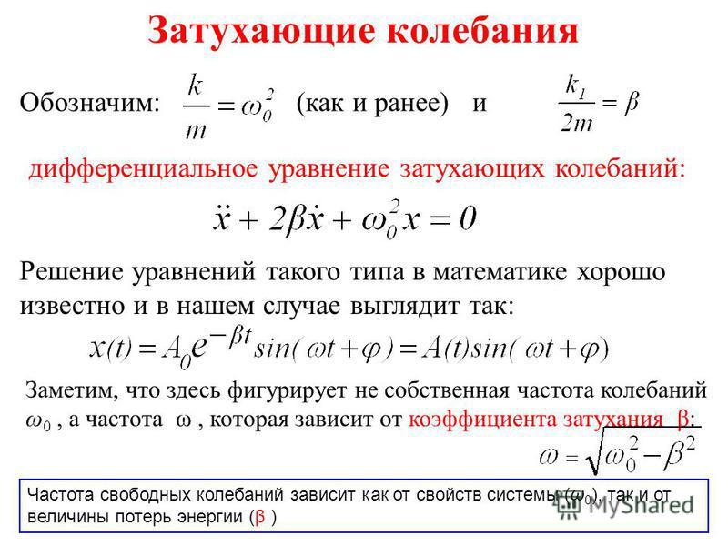 Затухающие колебания Обозначим: (как и ранее) и дифференциальное уравнение затухающих колебаний: Решение уравнений такого типа в математике хорошо известно и в нашем случае выглядит так: Заметим, что здесь фигурирует не собственная частота колебаний
