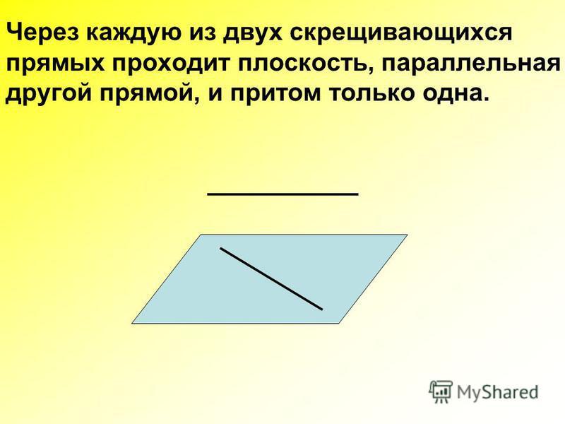 Через каждую из двух скрещивающихся прямых проходит плоскость, параллельная другой прямой, и притом только одна.