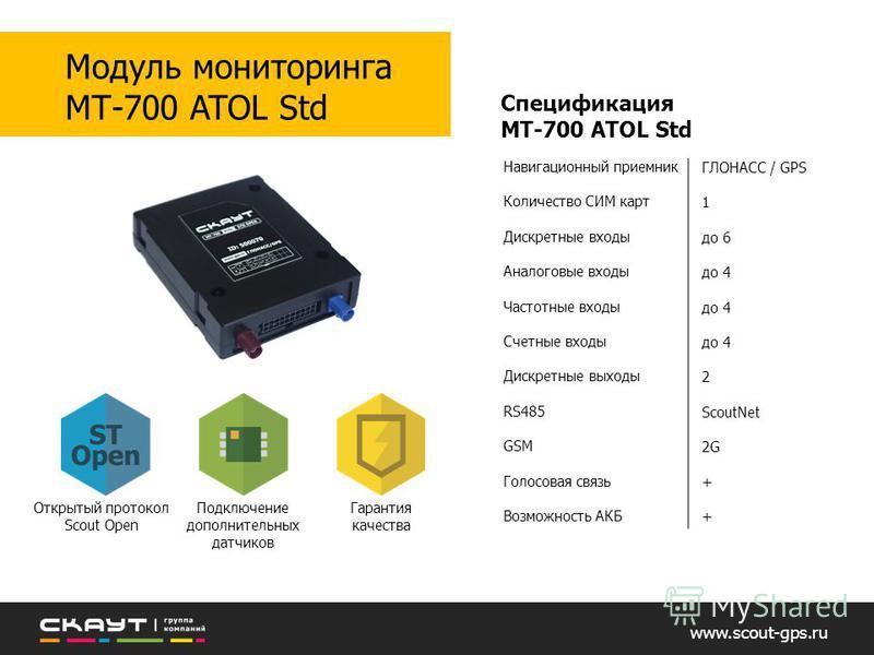 Навигационный приемник Количество СИМ карт Дискретные входы Аналоговые входы Частотные входы Счетные входы Дискретные выходы RS485 GSM Голосовая связь Возможность АКБ Спецификация МТ-700 ATOL Std ГЛОНАСС / GPS 1 до 6 до 4 2 ScoutNet 2G + www.scout-gp