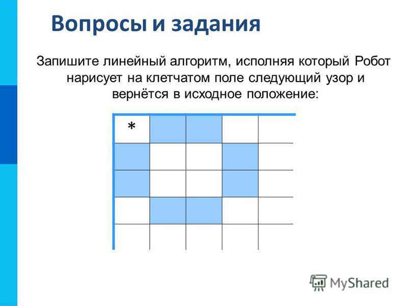 Вопросы и задания Запишите линейный алгоритм, исполняя который Робот нарисует на клетчатом поле следующий узор и вернётся в исходное положение: *