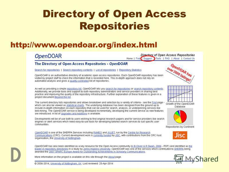 Directory of Open Access Repositories http://www.opendoar.org/index.html