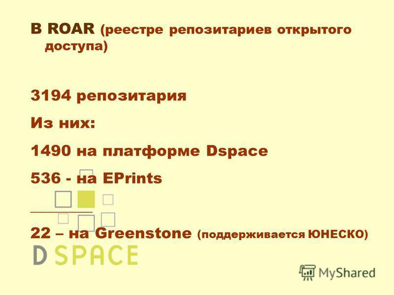 В ROAR (реестре репозиториев открытого доступа) 3194 репозитория Из них: 1490 на платформе Dspace 536 - на EPrints ________ 22 – на Greenstone (поддерживается ЮНЕСКО)