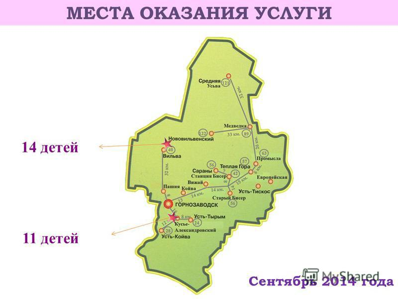 МЕСТА ОКАЗАНИЯ УСЛУГИ 11 детей 14 детей Сентябрь 2014 года