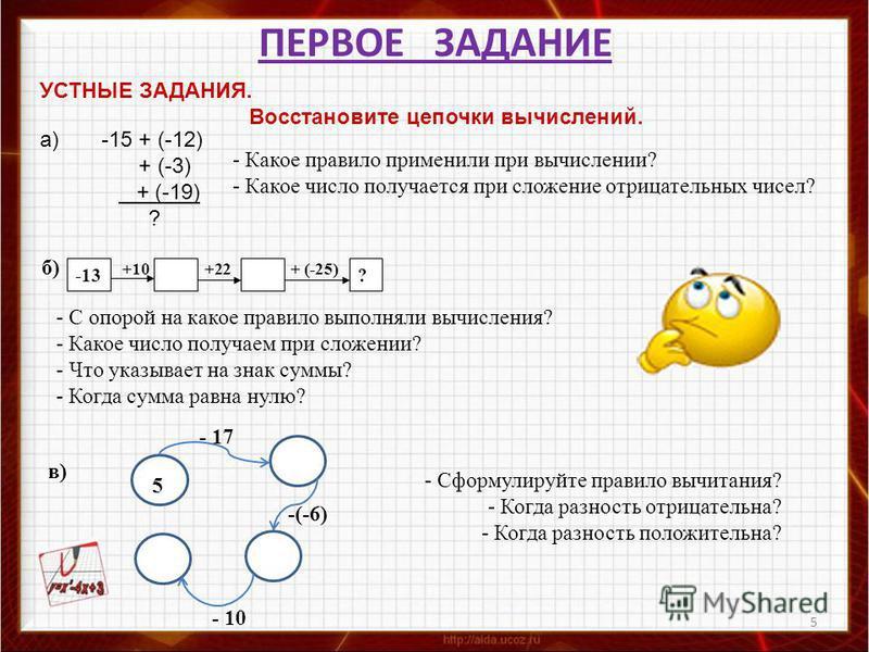 ПЕРВОЕ ЗАДАНИЕ 5 УСТНЫЕ ЗАДАНИЯ. Восстановите цепочки вычислений. а) -15 + (-12) + (-3) + (-19) ? - Какое правило применили при вычислении? - Какое число получается при сложение отрицательных чисел? -13? б) +10+22 + (-25) - С опорой на какое правило