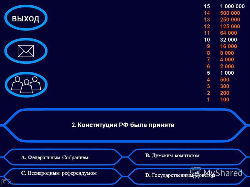 2. Конституция РФ была принята A. Федеральным Собранием B. Думским комитетом C. Всенародным референдумом D. Государственным Советом
