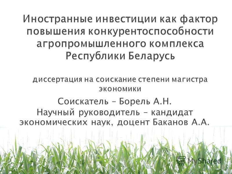 Соискатель – Борель А.Н. Научный руководитель – кандидат экономических наук, доцент Баканов А.А.