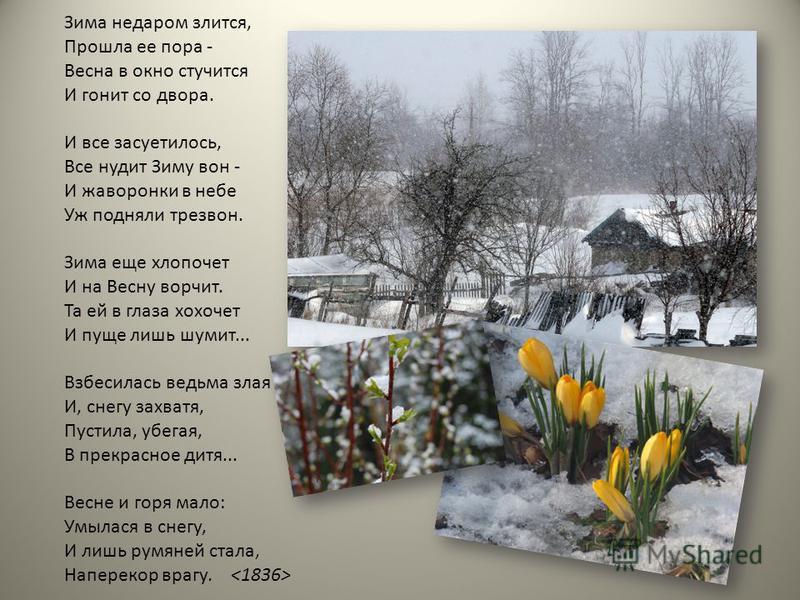 Зима недаром злится, Прошла ее пора - Весна в окно стучится И гонит со двора. И все засуетилось, Все нудит Зиму вон - И жаворонки в небе Уж подняли трезвон. Зима еще хлопочет И на Весну ворчит. Та ей в глаза хохочет И пуще лишь шумит... Взбесилась ве