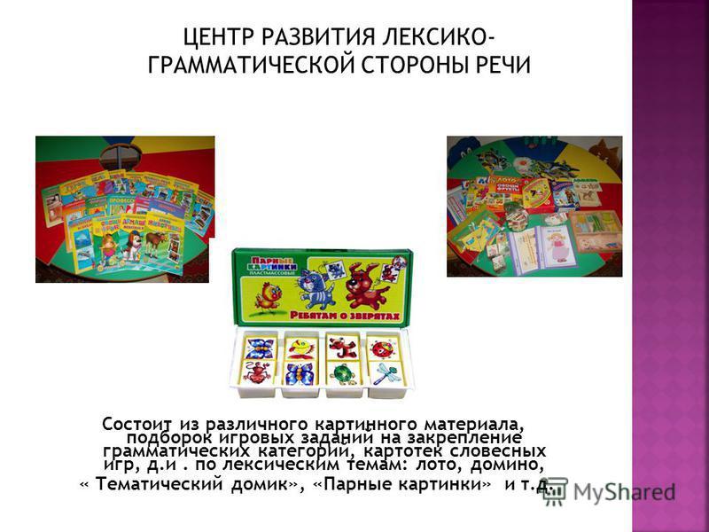 Состоит из различного картинного материала, подборок игровых заданий на закрепление грамматических категорий, картотек словесных игр, д.и. по лексическим темам: лото, домино, « Тематический домик», «Парные картинки» и т.д.