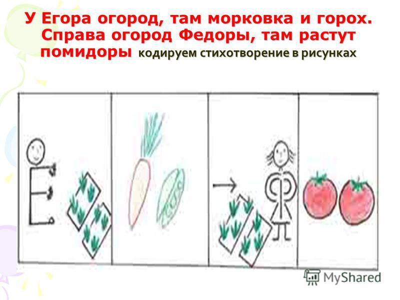У Егора огород, там морковка и горох. Справа огород Федоры, там растут помидоры кодируем стихотворение в рисунках