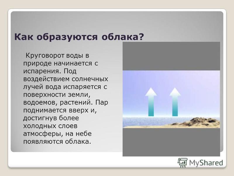 Как образуются облака? Круговорот воды в природе начинается с испарения. Под воздействием солнечных лучей вода испаряется с поверхности земли, водоемов, растений. Пар поднимается вверх и, достигнув более холодных слоев атмосферы, на небе появляются о