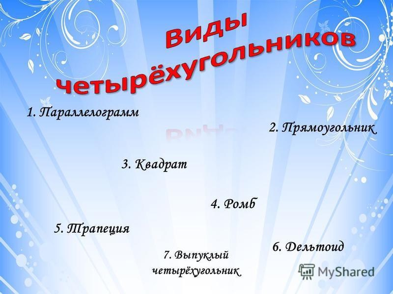 1. Параллелограмм 2. Прямоугольник 4. Ромб 3. Квадрат 5. Трапеция 6. Дельтоид 7. Выпуклый четырёхугольник