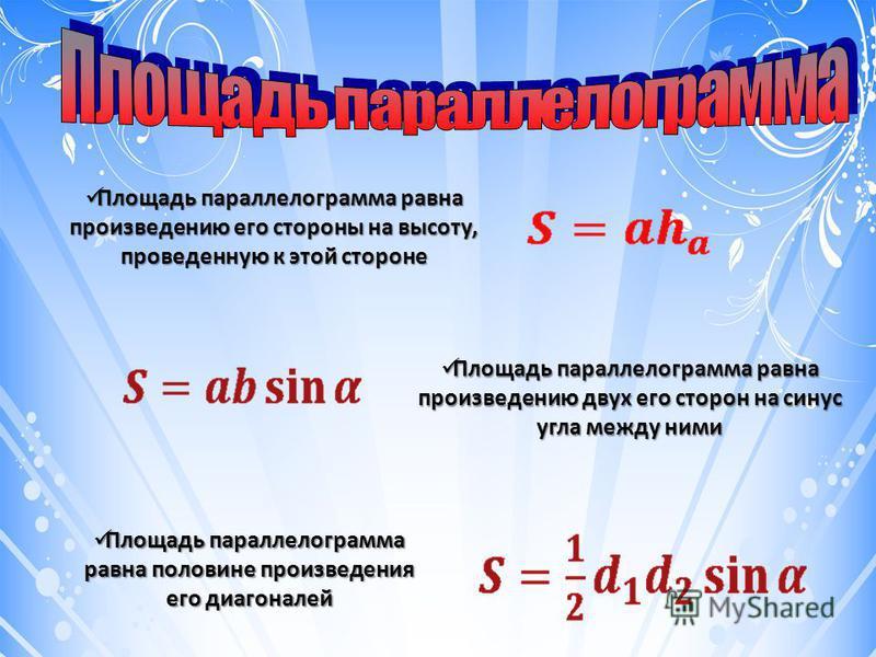Площадь параллелограмма равна произведению его стороны на высоту, проведенную к этой стороне Площадь параллелограмма равна произведению его стороны на высоту, проведенную к этой стороне Площадь параллелограмма равна произведению двух его сторон на си