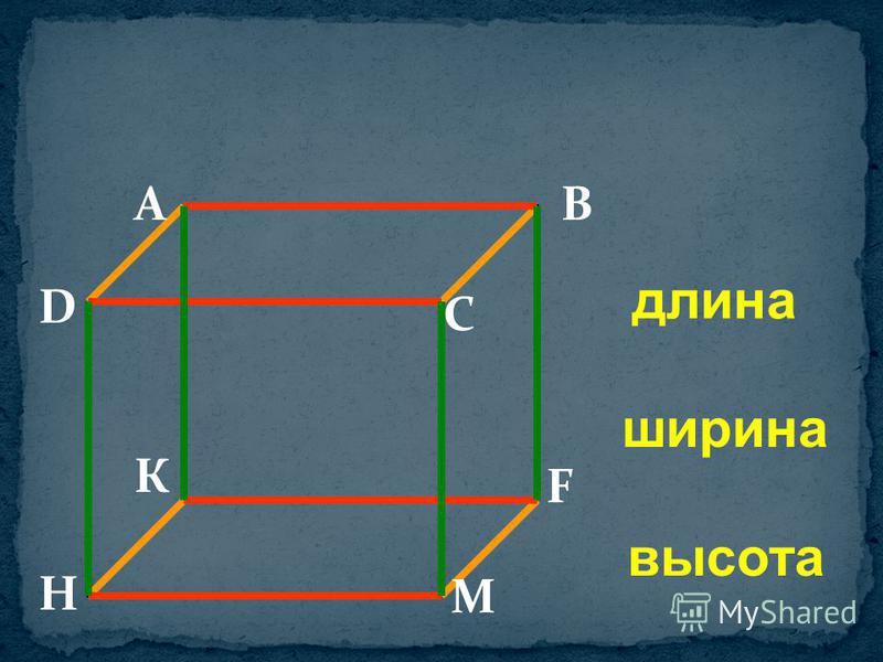 длина ширина высота AB C D К F М H