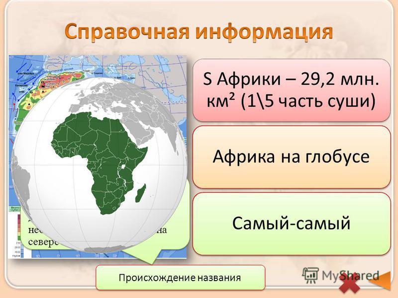 S Африки – 29,2 млн. км² (1\5 часть суши) Африка на глобусе Самый-самый Происхождение названия Название Африка (от лат. Afrikus – безморозный, не знающий мороза). Так в древние времена называлось небольшое племя, жившее на севере материка