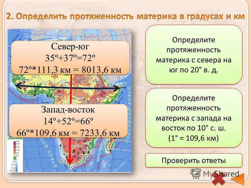 Определите протяженность материка с севера на юг по 20° в. д. Определите протяженность материка с запада на восток по 10° с. ш. (1° = 109,6 км) Проверить ответы Запад-восток 14º+52º=66º 66º*109,6 км = 7233,6 км Запад-восток 14º+52º=66º 66º*109,6 км =
