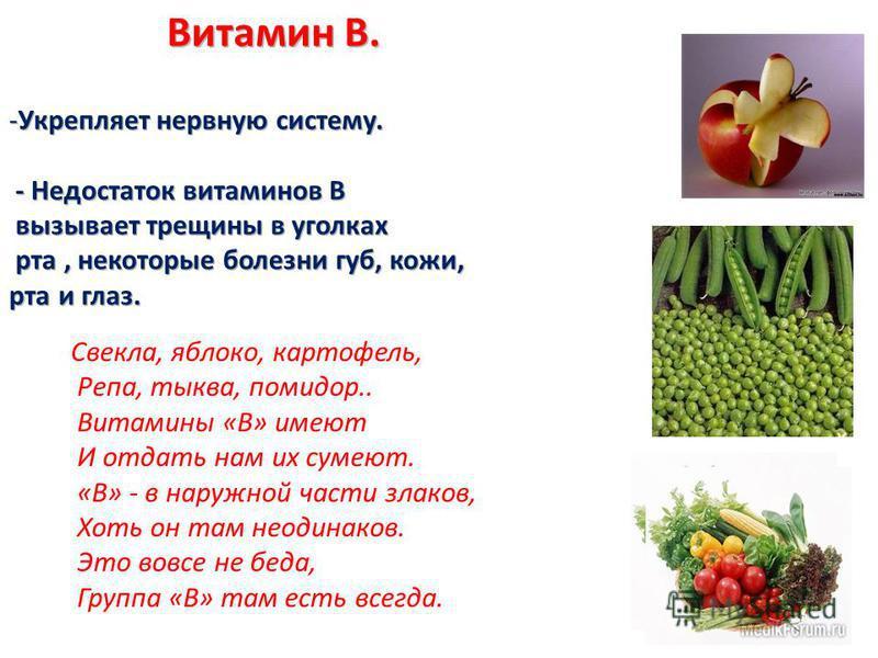 Свекла, яблоко, картофель, Репа, тыква, помидор.. Витамины «В» имеют И отдать нам их сумеют. «В» - в наружной части злаков, Хоть он там неодинаков. Это вовсе не беда, Группа «В» там есть всегда.